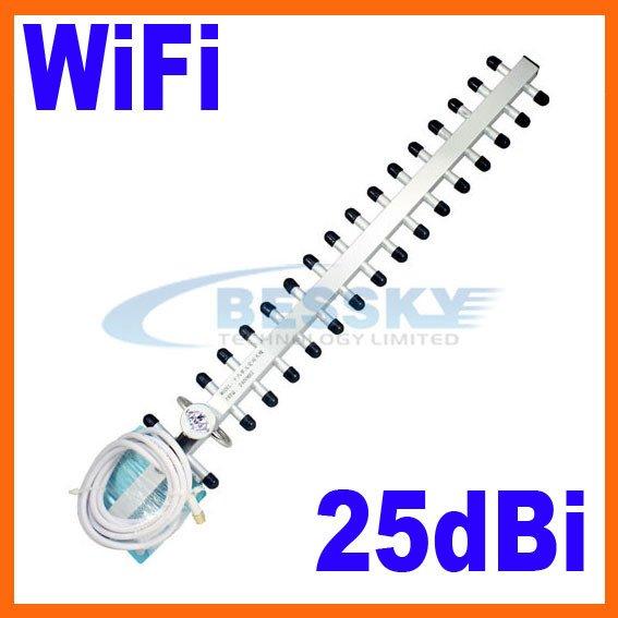 2.4GHz 25dbi WiFi Antenna For Wireless Router Outdoor Yagi Antenna WIFI ANTENNA 2pcs(China (Mainland))