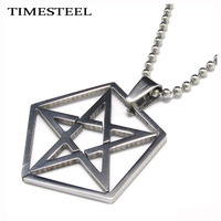 TSP079873 Fashion Men Jewelry Titanium 316L Stainless Steel Pentagram Pendant Necklace Free Chain