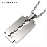 TSP079794 Free Chain Fashion Titanium 316L Stainless Steel Razor Blade Pendant Necklace