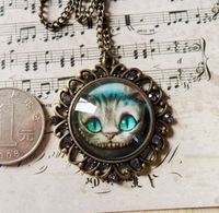 Min.order is $10 (mix order) Free Shipping Vintage Alice Wonderland Cheshire Travel's Cat chain Necklace Sweater Chain