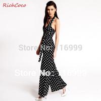 HOT Sexy macacao feminino e macaquinhos polka dot V neck racerback bow sleeveless lacing chiffon jumpsuit plus size Female