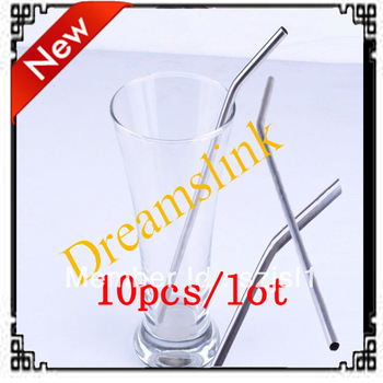"New Wholesale Lots Of 10 Stainless Steel Drinking Straw Straws Metal 8.5"" Free Shipping Hot sale"