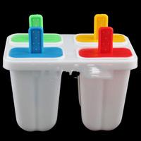 DIY Ice Cream Frozen 4Pcs Popsicle Maker Mold Icepop Block Icy Pole Lolly Set