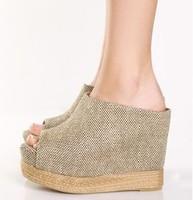 European trendy cloth platform wedges shoes peep toes ankle boots sandals 11cm