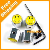 New 4PCS Caps Anti-Theft Locking Tire air valve caps For Smile #3516