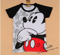 Free shipping women thinking mickey  short-sleeve cotton t-shirt lady t shirt