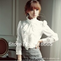 Han edition dress long sleeve white shirt, cultivate one's morality palace spring 2013 new business attire women chiffon blouse