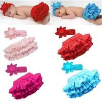 Wholesale 3pcs/lot baby skirt 100% cotton Fashion girl's skirts PP ruffles mini skirt suit skirt+coif Free shipping