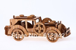 Free Shipping DIY Wooden puzzle toy wooden 3d jigsaw puzzle handmade model assembled promotional classic cars(China (Mainland))