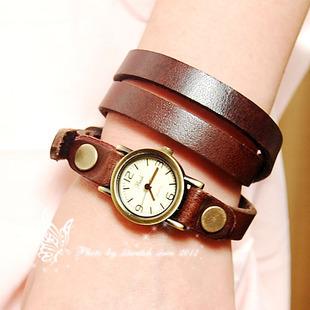 TOP quality Genuine Cow leatherwatch fashion Punk Wrap Women watches.Leather Strap Bracelet Quartz Wrist Watch New