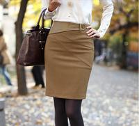 New Arrival Black Camel Color High Waist  Pencil Skirt Women 2014 Knee-Length Bust Black Work Skirts Saias Femininas