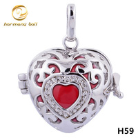 H59-20-D1 Designer Jewelry 20mm Heart Cage Including Multicolor Harmony Ball Pendant For Pregnant Women Mexican Bola Jewelry