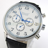 White Dial Black PU Leather Band Automatic Mechanical Wrist Watch 6965
