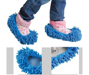 2pcs/lot Slippers Fuzzy House Floor Cleaner For Lazy Girls Cleaning Dust Mop Lady  Women'Shoes  #1673