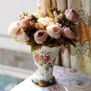 1 PCS Beautiful Artificial Peony Bouquets Silk Flowers Home wedding Decoration F146