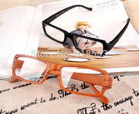 free shipping Japanese style gentle wood grain vintage small eyeglasses frame non-mainstream box glasses frame wool plain mirror