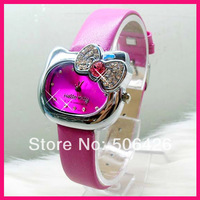 5pcs Hello Kitty watch,  Free Shipping Wholesale fashion leather strap quartz watch ,Crystal bowknot watches