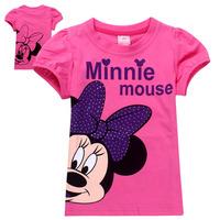 2014 New 6pcs/lot Children's clothing Minnie Mouse 100% cotton baby kids children's short sleeve T-shirts  girls summer T-shirt