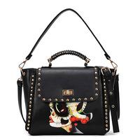 New Arrival Abstract Style Fashion Woman Bag Handbag Shoulder Bag Black Color Pu Leather Free Ship