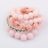 Free shipping! 1set = 5pieces, Elastic pink round resin beads rose flowers crystal rhinestones bracelets bracelets & bangles