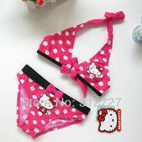 New free shipping 5sets/lot lovely hello kitty dot swimwear kids beachwear girls cartoon bathers swimsuit baby bikini 2colors