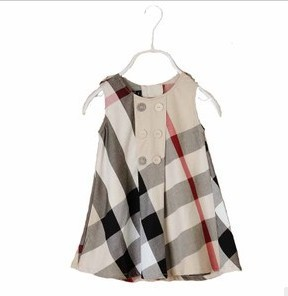 2013 Fashion classical plaid  Summer  dress Baby  elegant kids girl baby party  gift