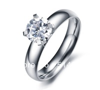 Rhodium Plated Wedding Ring with Shinning Crystal  Free Shipping on orders of $15 or more