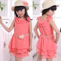 2014 Summer dress Girl's chiffon dress With Belt Novel Flouncing Children dresses size 120-160 girls princess dress girl
