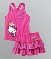 2013 Baby Girls Clothing Set Hello Kitty KT Vest+Skirt Kids Summer Wear Set Fit  2-6 Yrs 5 Sets/Lot Free Shipping