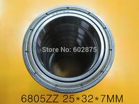 free shipping 6805 6805Z  6805ZZ   25*37*7mm chrome steel  deep groove bearing