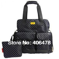 New Arriva 6 colorsl! 3 in 1 Diaper Bag used as Messanger Backpack Handbag with Polka Dots design