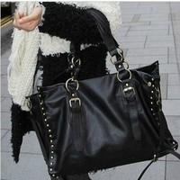2014 new women ladies rivet bag big capacity handbag messenger bag black. 26*36*12CM