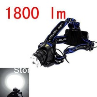Free shipping 1800Lm CREE XM-L XML T6 LED Rechargeable Zoomable zoom Headlamp Headlight Light