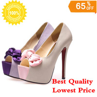 Top Quality High-heeled Sandals Marry Women Wedding Shoes High Heels13cm Thick Crust Waterproof Open Toe Fish Head Shoes Purple
