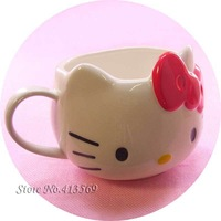Free shipping cute 3D vivid cartoon cat cup kawaii hello kitty ceramic mug pink & red 500ml
