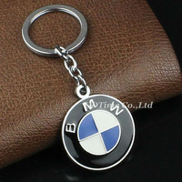Free Shipping (50 pieces/lot) Cool Car Stainless Ring Keychain Blue Black White