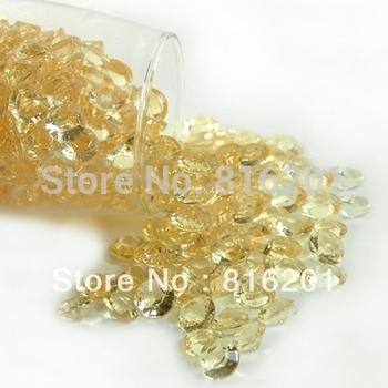 1000pcs Acrylic Golden(Light Coffee) 10mm 4 CT Diamond Confetti Wedding Reception Table Scatter Decoration+free shipping