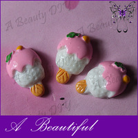 (Min Order $6)Resin Cabochons For DIY Jewelry&Phone Decoration!Flatback Pink Resin Ice Cream Free Shipping#RDE148