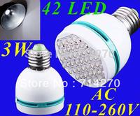 Free shipping 3W E27 110-260V cool White light bulb 42 leds electric saving LED bulb lamp Spot light lamp