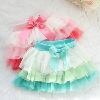Baby Girls Tulle Skirts Summer 2014 Children Princess Bow Skirts Toddler Kids Fashion Brand Clothing Wear Wholesale 4pcs/LOT