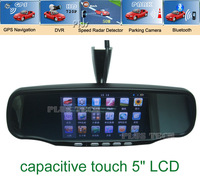 New arrival 5 inch Capacitive Touch Screen Rear view mirror GPS navigation with DVR, radar, Parking Camera, bluetooth