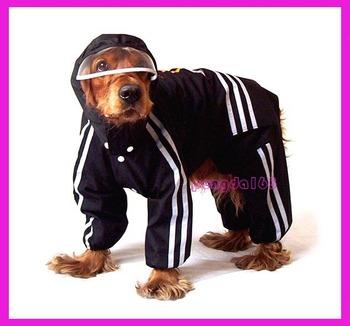 Black clothes large dog raincoat pet raincoat the dog sports raincoat dog raincoat Free shipping