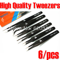 Free shipping (6pcs/set)TOYO TOYO ESD Anti-Static Stainless Steel Tweezer Set Tweezers Maintenance Tools Kits ESD-10-15