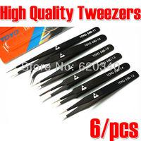 Free shipping (6pcs/set)TOYO TOYO ESD Anti-Static Stainless Steel Tweezer Set Tweezers Maintenance Tools Kits ESD-10-15