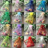 Hot Sale ! Wholesale Free Shipping 500pcs 9x12cm Mini Random Mixed Drawable Organza Wedding Gift Bags&Pouches