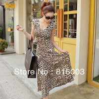 Summer dresses for woman 2013 elastic viscose leopard print sexy full dress female V-neck slim one-piece dress beach dress