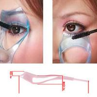 Three-dimensional Crystal 3in1 Eyelash Curler Card Mascara Applying Applicator Device