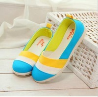 Free shipping + Flat foot wrapping canvas shoes multicolour cotton-made shallow mouth shoes lounged  casual shoes female