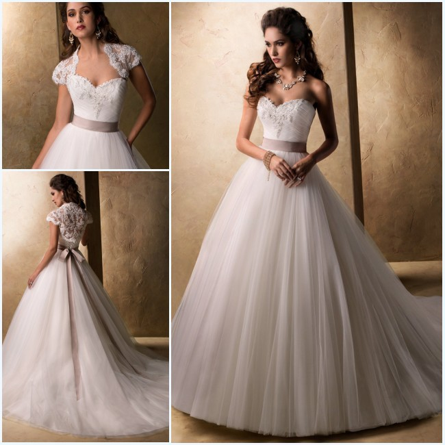 Custom Made robe de mariage 2014 Ball Gown Wedding Dresses with Jacket ...