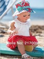 2014 New baby dress baby suit  sun hat Summer beach sun hat skirt (hat + dress)